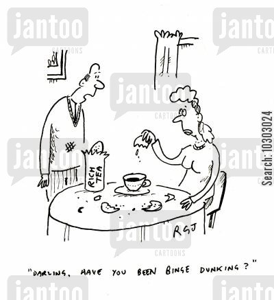 dunks cartoon humor: 'Darling, have you been binge dunking?'