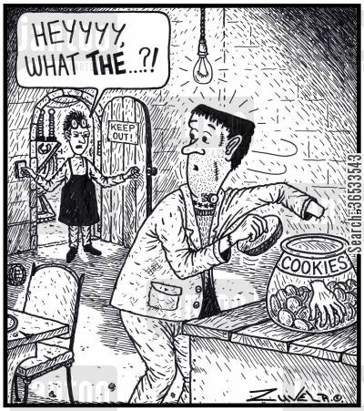 cookie jar cartoon humor: Dr. Frankenstein: 'Heyyyy, What THE...?!'
