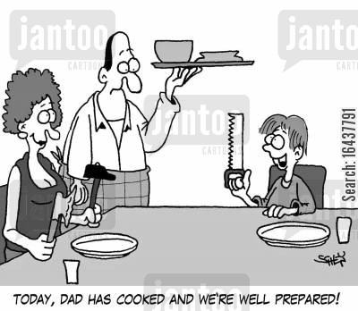 family lives cartoon humor: 'Today, dad has cooked and we're well prepared!'