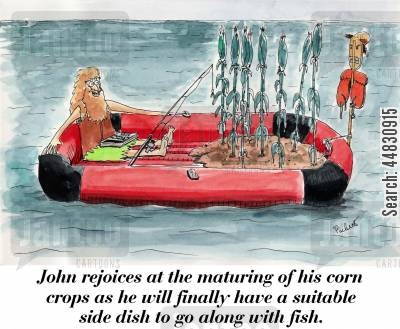 corn crops cartoon humor: John rejoices at the the maturing of his corn crops as he will finally have a suitable side dish to go along with fish.