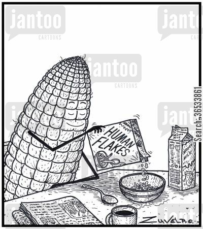 grain cartoon humor: 'Human Flakes' - The Corn world's cereal version of corn flakes
