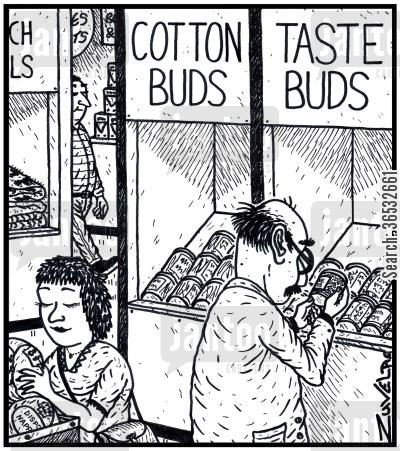 food shopping cartoon humor: Cotton Buds Taste Buds.