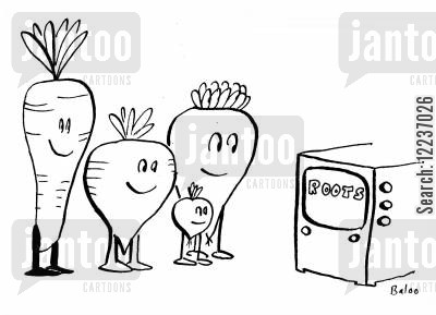root vegetable cartoon humor: Vegetables watch 'Roots' TV show.