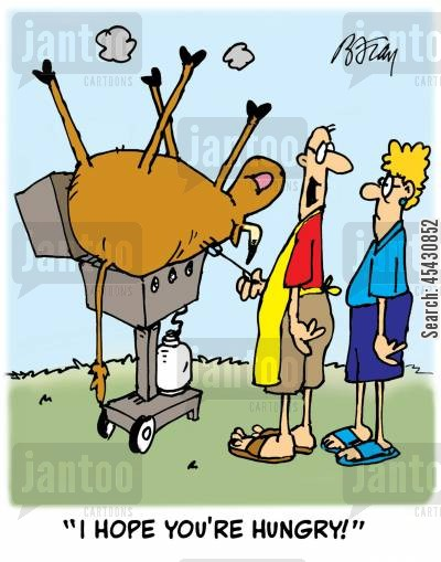 gatherers cartoon humor: 'I hope you're hungry!'