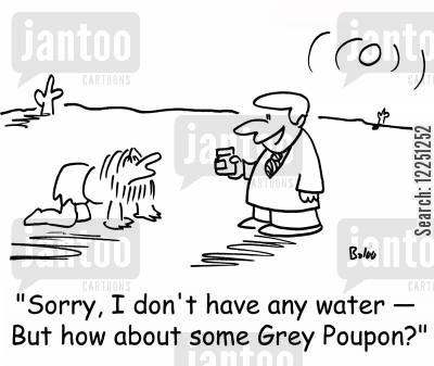 grey poupon cartoon humor: 'Sorry, I don't have any water -- But how about some Grey Poupon?'