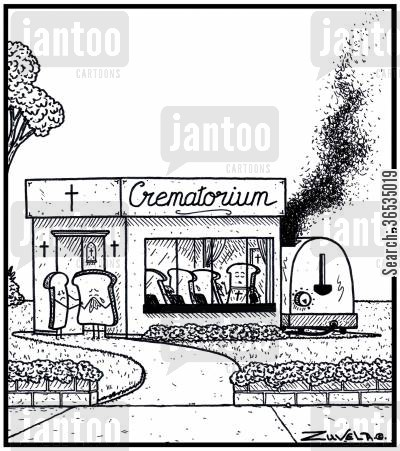 mourner cartoon humor: The Bread world's version of a Crematorium using a Toaster to Cremate.