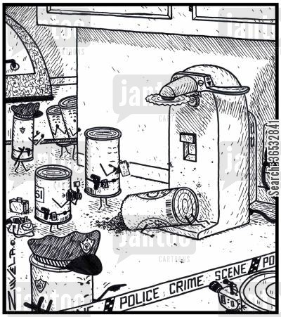 can openers cartoon humor: Police Crime Scene tin can.