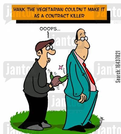 hit men cartoon humor: Hank the vegetarian couldn't make it as a contract killer.