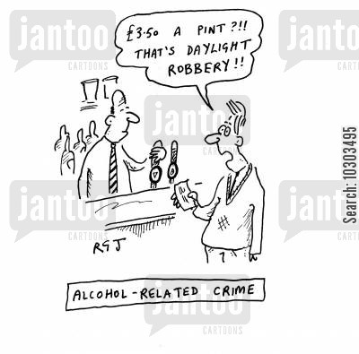 alcohol related crime cartoon humor: Alcohol Related Crime.