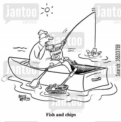 crisps cartoon humor: Man fishing and eating potato chips Title: 'Fish and Chips'