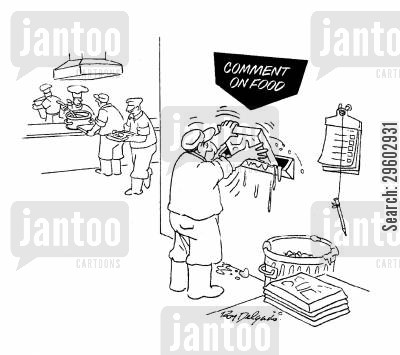 suggests cartoon humor: Comment on food.