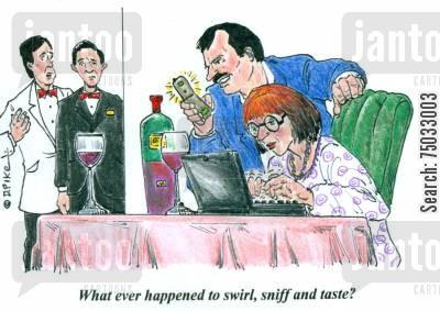 sniffs cartoon humor: 'Whatever happened to swirl, sniff and taste?'