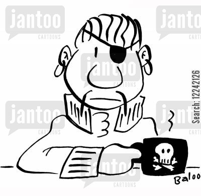 coffee cups cartoon humor: Pirate has skull and crossbones logo on his coffee cup.