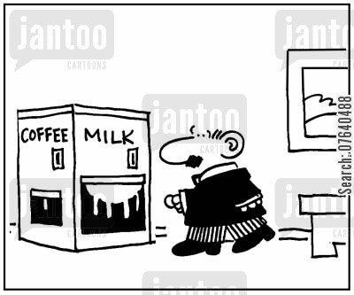 caffeine drinks cartoon humor: 'Coffee. Milk.'