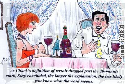 definition cartoon humor: 'As Chuck's definition of terroir dragged past the 20-minute mark, Suzy concluded, the longer the explanation, the less likely you know what the word means.'