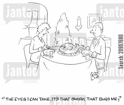 smirk cartoon humor: 'The eyes I can take, it's that smirk that bugs me!'