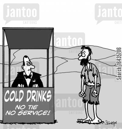 travelled cartoon humor: No tie No service.