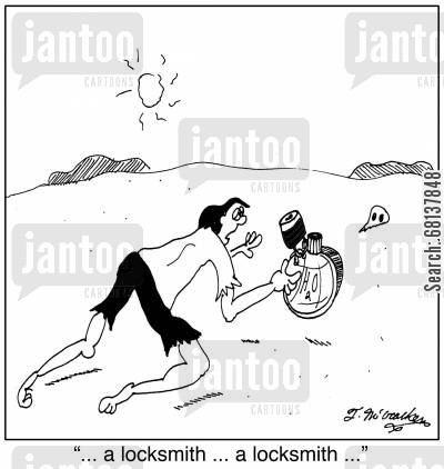 padlocks cartoon humor: '... a locksmith ... a locksmith ...'