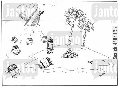 alone cartoon humor: A man on deserted island is watching a ship sink as barrels of coconuts drift towards him...