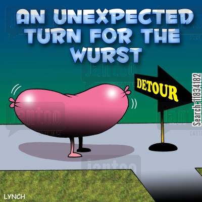 roadworks cartoon humor: An Unexpected Turn For The Wurst.