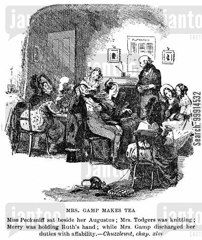 martin chuzzlewit cartoon humor: Mrs. Gamp makes tea