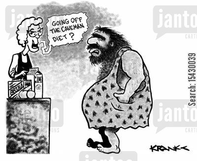 grocery cartoon humor: 'Going off the Caveman diet?'