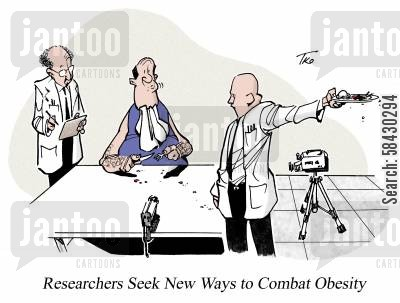 research lab cartoon humor: New Ways to Combat Obesity.