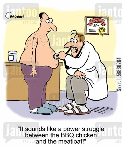 meatloaf cartoon humor: 'It sounds like a power struggle between the BBQ chicken and the meatloaf!'