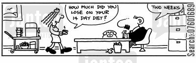 fortnights cartoon humor: 'How much did you lose on your 14 day diet?' 'two weeks.'