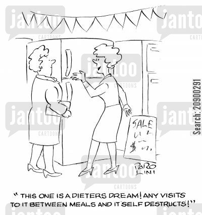 electrical appliance cartoon humor: 'This one is a dieter's dream! Any visits to it between meals and it self destructs!'