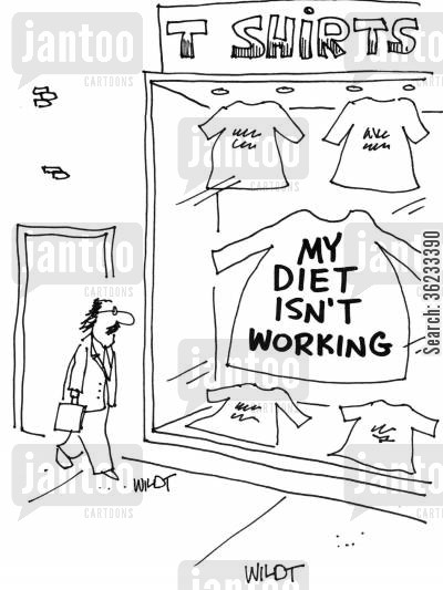 plus size cartoon humor: Huge sweatshirt reads 'My diet isn't working'.