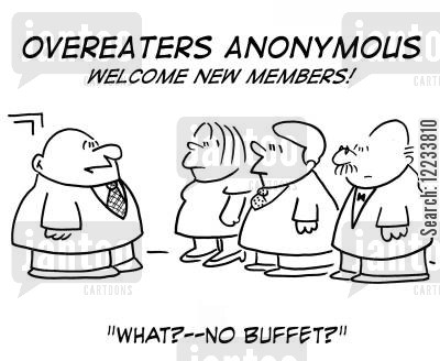 overaters cartoon humor: Overeaters Anonymous - Welcome New Members! What - no buffet?