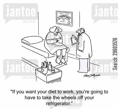 healthy food cartoon humor: 'If you want your diet to work, you're going to have to take the wheels off your refrigerator.'