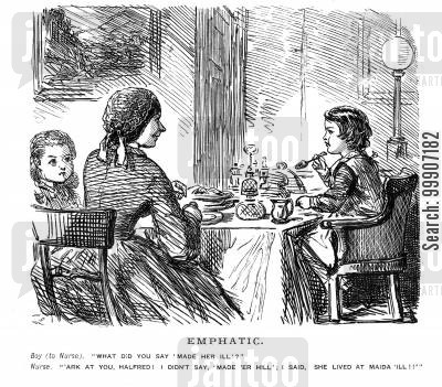 babysitter cartoon humor: Two children and their nurse sat down for a meal
