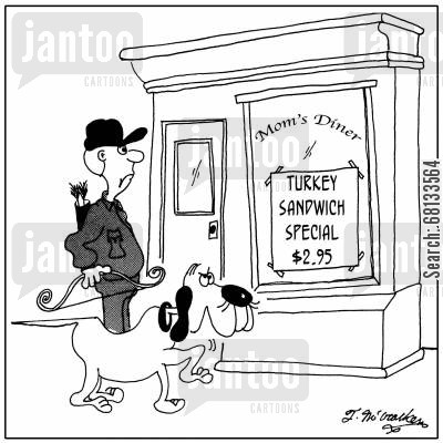 bow hunter cartoon humor: Mom's Turkey Sandwich Special, $2.95.