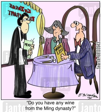 chinese foods cartoon humor: 'Do you have any wine from the Ming dynasty?'