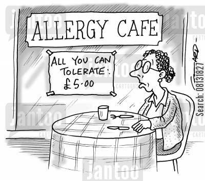 food intolerance cartoon humor: 'Allergy Cafe - All you can Tolerate.'