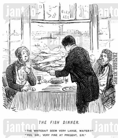 delicacy cartoon humor: Waiter serving fully grown fish as whitebait