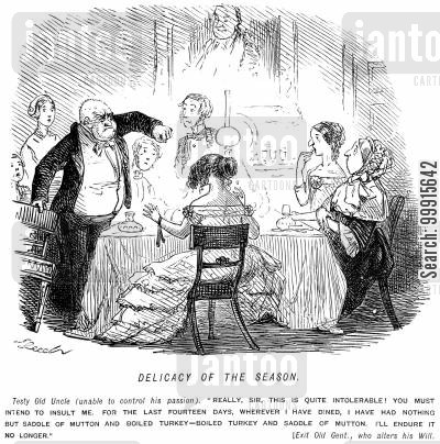 saddle of mutton cartoon humor: Man outraged at having had to endure eating mutton and boiled turkey