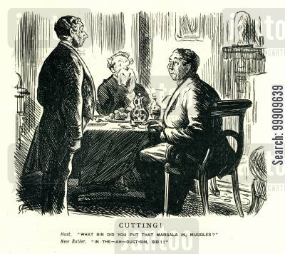 diner cartoon humor: Two Gentlemen Dining and the Butler.