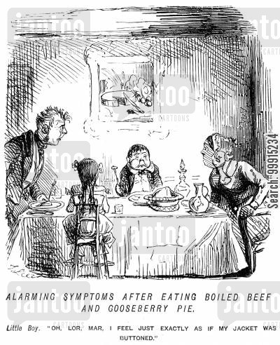dinner table cartoon humor: Alarming symptoms after eating boiled beef and gooseberry pie