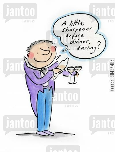 negroni cartoon humor: A little sharpener before dinner, darling?