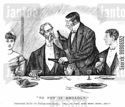 fine dining cartoon humor: A butler offering a guest a drink.