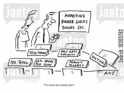 food allergy cartoon humor: Annoying Dinner Guests Dining Soc.