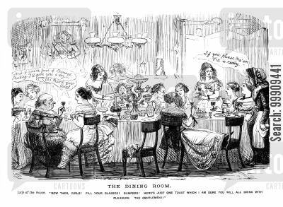 behaviours cartoon humor: Ladies Drinking In The Dinning Room After The Men Retire To The Drawing Room.