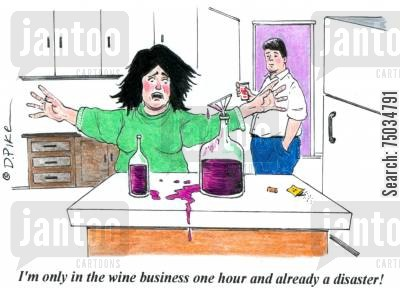 novices cartoon humor: 'I'm only in the wine business one hour and already a disaster!'