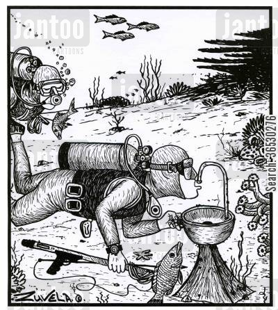 scuba divers cartoon humor: Divers drinking under water.