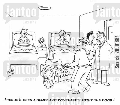hotdog vendors cartoon humor: 'There's been a number of complaints about the food.'