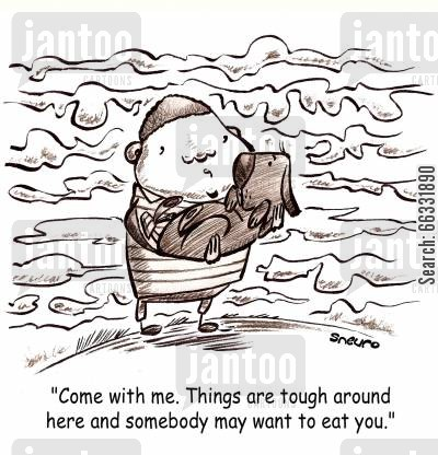 famines cartoon humor: Come with me. Things are tough around here and somebody may want to eat you.