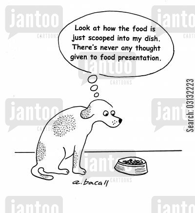 feeding dogs cartoon humor: The food is just scooped into my dish...no thought to food presentation.